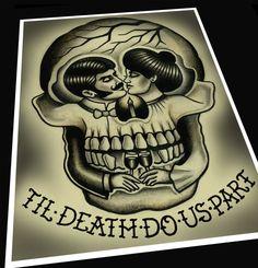 Til' Death Do Us Part Tattoo Print van ParlorTattooPrints op Etsy