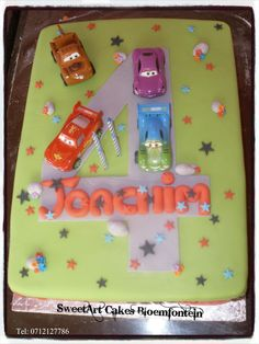 Disney Cars Cake For more info & orders, email sweetartbfn@gmail.com or call 0712127786 Cupcake Toppers, Cupcake Cakes, Cupcakes, Disney Cars Cake, Sweetarts, Lightning Mcqueen, Planes, Trains, Fondant