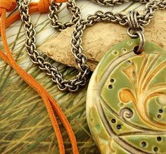 """Stainless Steel Chainmail Ceramics and Leather Necklace by unkamengifts, $ 85.00 """"Spring Will Come Again"""""""