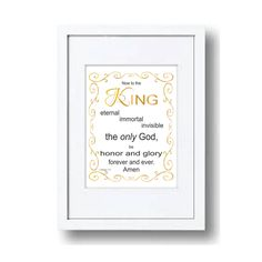 Now to the KING Eternal, Immoral, Invisible, 1 Tim Print, Scripture, Digital File, Bible Verse Art, Christian.Typography, Calligraphy, by LoveLineSigns on Etsy