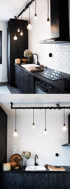 Beautiful kitchen lighting, mixing old bulbs and new. Sköna Hem.