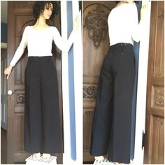 """6267 Italian Designer Unique Wool Pants 6267 is a very high quality Italian designer brand and you can see it in the exquisite detail of these amazing high-waisted trouser pants. The (suspended?) holes are gorgeously embroidered along with the top of the pants. Lined. In excellent condition. Measurements upon request. For reference I am 5'7"""" and they'd be good with heels. I am usually a 4/6 in pants:) 6267 Pants Trousers"""