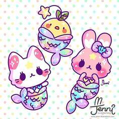 Rainbow mermaids for #mermay . . . #originalcharacters #mermay2018 #mermaids #merbunny #merkitty #rainbow #pastel #mystic #jennilustrations