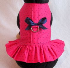 Small Custom Dog Harness Dress Outfit OOAK Hot Pink and Navy Polka Dots | eBay $10.98 buy it now