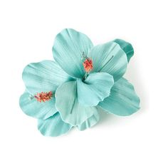 Turquoise Double Hibiscus Flower Hair Clip ($35) ❤ liked on Polyvore