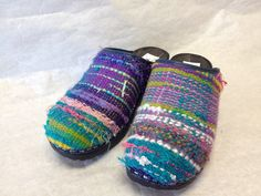 Create your own Handwoven Clog by ChameleonClogs on Etsy Loom Weaving, Hand Weaving, Jack Rogers Sandals, Weaving Textiles, Weaving Projects, How To Make Shoes, How To Wear, Fabric Beads, Clogs