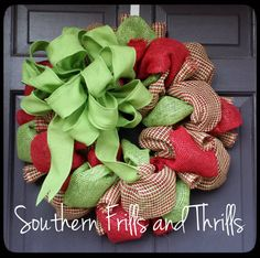 Christmas Wreath, Burlap Christmas Wreath, Burlap Wreath, Holiday Wreath, Christmas Door Hanger on Etsy, $48.00