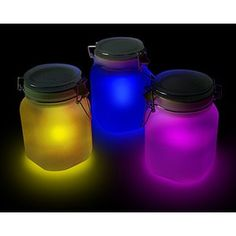 Solar powered glow light jars
