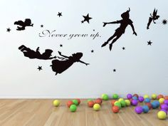 Peter pan, never grow up wall decal, mural, stickers, wall art, tinkerbell, wendy, stars.. $40.00, via Etsy.