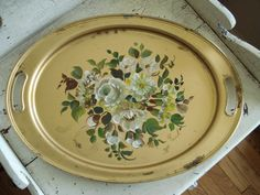 Vintage Gold Tray w/ Roses Vintage Tray / by SweetPeaVignettes, $24.00