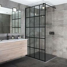 I like the black shower tray and crittal glass shower Loft Bathroom, Upstairs Bathrooms, Small Bathroom, Bathroom Showers, Framed Shower Door, Shower Doors, Shower Screens, Bad Inspiration, Bathroom Inspiration