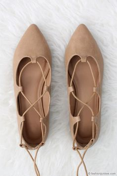 Faux Leather Pointy Strappy Ballet Ballerina Lace Up Flats-Camel Brown