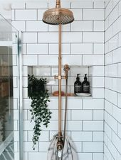 shower with brass fixtures and dark grout subway tile dusche mit messingarmaturen und dunklen fugen u-bahn fliesen This image has. Bathroom Plants, Boho Bathroom, Small Bathroom, Bathroom Ideas, Master Bathroom, Bathroom Lighting, Bathroom Niche, Modern Bathroom, Bathroom Vanities