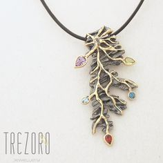 Eternal Tree Designer Pendant. Sterling Silver with Amethyst, Peridot, Garnet and Topaz. Rhodium plated with Gold accents. AU$159.00