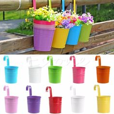 """Brighten up your Garden with these colorful hanging flower pots. Material: Metal Iron. Size: Above the mouth :9.5cm/3.74"""" Following mouth : 8cm /3.15"""" Hook Height: 7.5cm/2.95"""" Height : 10 cm /3.94"""" Sp"""