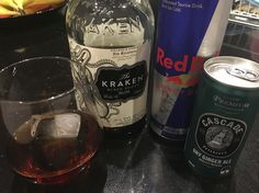 Drink 63 of 366 for 2016 - The Kraken Spiced Dark Rum - neat, with Dry and with Red Bull!