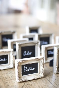 black and white wedding - frame place cards - brides of adelaide magazine