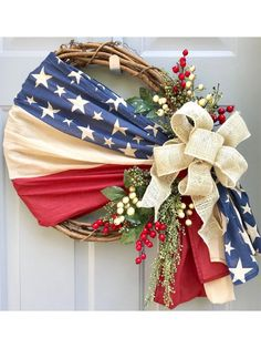 Fourth Of July Decor, 4th Of July Decorations, 4th Of July Wreath, Floral Decorations, Year Round Wreath, Independance Day, Wreath Drawing, Patriotic Wreath, Patriotic Crafts