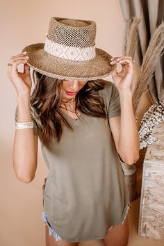 A gambler design combines witha structured material for a hat that's ready for parties, vacations and beyond. Natural Weaved Seagrass Material Structured Brim Embroidered Band Spring Scene, Outfits With Hats, Panama Hat, Vacations, Give It To Me, Jumpsuit, Parties, Poses, Band