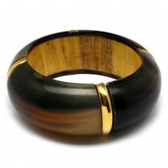 Liza's Chunky Gold Accented Wood Bangle - As Seen In Essence Magazine ($27) ❤ liked on Polyvore