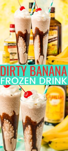 Dirty Banana Frozen Cocktail This Dirty Banana cocktail recipe is a dangerously delicious and boozy frozen drink recipe loaded with rum, banana, coffee, and chocolate flavors! Ready to serve in just 5 minutes! Frozen Banana Recipes, Frozen Drink Recipes, Alcohol Drink Recipes, Cocktail Recipes, Margarita Recipes, Punch Recipes, Banana Cocktails, Beste Cocktails, Frozen Cocktails