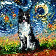 Border Collie Art Starry Night Art Print dog lover gift cute art by Aja choose size and type of paper pup puppy Canvas Art Prints, Painting Prints, Canvas Wall Art, Painting Abstract, Golden Retriever Kunst, Dog Lover Gifts, Dog Lovers, Border Collie Art, Starry Night Art