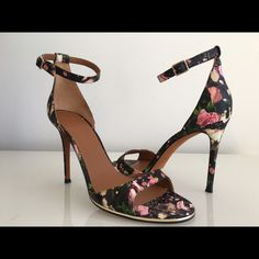 """GIVENCHY FLORAL PRINT LEATHER HIGH HEEL SANDALS GIVENCHY FLORAL PRINT LEATHER HIGH HEEL SANDALS, SIZE 40.5, MADE IN ITALY, COVERED HEIGHT HEEL 4.25"""", BRAND NEW WITH DUST BAG Givenchy Shoes Heels"""