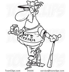 Cartoon Black and White Line Drawing of a Baseball Player Drinking a Beverage