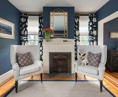 Beach Style Bedroom by Digs Design Company. Wall color is Benjamin Moore Van Deusen Blue