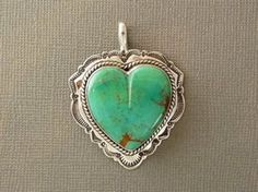 Sterling Silver Turquoise Heart Pendant by Mike Thompson, Navajo for $264.00 | Native American Jewelry