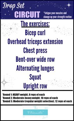 Shake Up Your Strength-Training Routine With This Dumbbell Circuit Try this drop set workout for your next strength-training session. Killer Workouts, Toning Workouts, Fun Workouts, Circuit Workouts, Exercises, Drop Sets Workout, Lose Fat Workout, Strength Training Workouts, Circuit Training