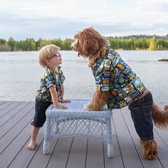 Twinning with my bff. 🐶❤️👦🏼He got these shirts for us when he went to Hawaii last May. His barely fits anymore. .  Day 8 of answers from #AskReagandoodle.  If you've ever wondered about my clothes, then today's post is taylor made for you. 👔  .  Believe it or not, I like wearing clothes.  Dressing up means I'll be getting lots of positive attention from my people, and let's face it, I LOVE attention.  I even help them put on my shirt by lifting my paw up into the sleeve.  When I wear… Dogs And Kids, I Love Dogs, Cute Funny Animals, Funny Dogs, Dog Pictures, Cute Pictures, Portuguese Water Dog, Doodle Dog, Best Friends Forever
