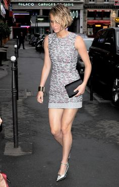 Jennifer Lawrence in Dior R15 dress and S14 shoes at the Dior Private Dinner on July 7, 2014 in Paris, France.