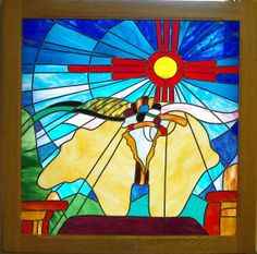 Southwest Bear Fettish Stained Glass by StainedGlassArtByICG, $1100.00