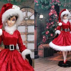 """Robe barbie """" mère noel n°5 """" vêtement pour poupée f3788"""