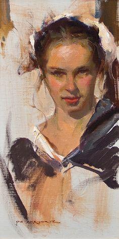 Daniel F. Gerhartz - Torian's Smile Painting People, Painting For Kids, Figure Painting, Painting & Drawing, Oil Portrait, Face Art, Figurative Art, Painting Techniques, Gouache