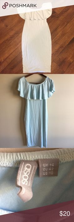 Pastel Blue Ruffle Off Shoulder Bardot Dress This light Blue Midi Bardot Dress is great for any special occasion. Comes with an off the shoulder ruffle detail and a pencil bottom that accentuates the waist. Made of a soft Jersey material. Worn once ASOS Dresses Midi