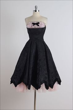 Vintage 1950s Black Circle-skirt Fit and Flare Dress with Sheer Black and Red Lace Illusion Bodice and Tulle Slip MediumLarge