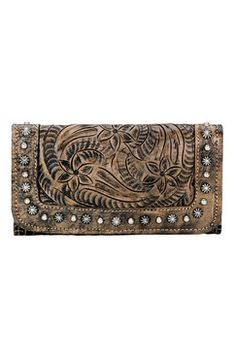 American West Forget-me-Not Distressed Brown Ladies Tri-Fold Wallet (7683282)