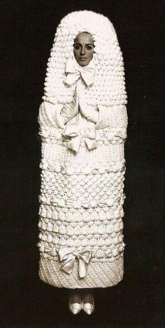 Oddly phallic 1960s crochet wedding dress