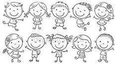 Ten happy cartoon kids, black and white outline. - Ten happy cartoon kids, black and white outline. Happy Cartoon, Cartoon Faces, Cartoon Kids, Cartoon Drawings, Female Cartoon, Girl Cartoon, Doodle Drawings, Easy Drawings, Doodle Art