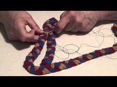 """""""Lacing"""" a braided rug (diff. than sewing). Braided rug from old fabric., """"Lacing"""" a braided rug (diff. than sewing). Braided rug from old fabric. Homemade Rugs, Braided Wool Rug, Rag Rug Tutorial, Diy Braids, Fabric Rug, Scrap Fabric, Fabric Strips, Diy Crochet, Crochet Rugs"""