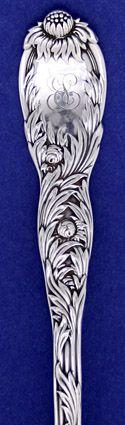 ... Pattern detail of Tiffany & Co 'Chrysanthemum' Pattern Sterling Silver Macaroni Fork, c