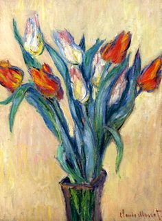 off Hand made oil painting reproduction of Vase of Tulips I, one of the most famous paintings by Claude Oscar Monet. Claude Oscar Monet painted Vase of Tulips I in along with two other floral still life paintings of tulips done. Claude Monet, Monet Paintings, Impressionist Paintings, Flower Paintings, Painting Flowers, Impressionism Art, Artist Monet, Edgar Degas, Arte Floral