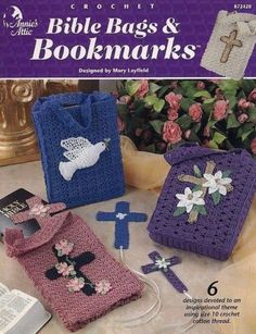 Bible-Bags-Bookmarks-Annies-Religious-Home-Decor-Crochet-Pattern-872420-RARE