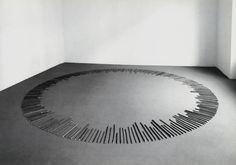 "cavetocanvas: "" Richard Long, A Circle of Memory Sticks, 1996 "" Richard Long, Land Art, Contemporary Sculpture, Contemporary Artists, Radial Pattern, To Infinity And Beyond, Environmental Art, Stonehenge, Installation Art"