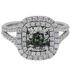 2.05 Carat GIA Cert Natural Grayish Green Yellowish Fancy Diamond Gold Ring