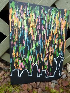 Seattle Skyline Melted Crayon Art - that glows in the dark!