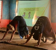 Volunteers stretch it out during a workshop on menstruation with the women's committee in Silana village #yoga #Fiji