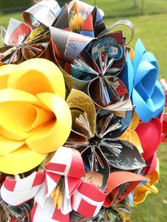 Custom COMIC BOOK Paper Flower Wedding Bouquets. by TreeTownPaper